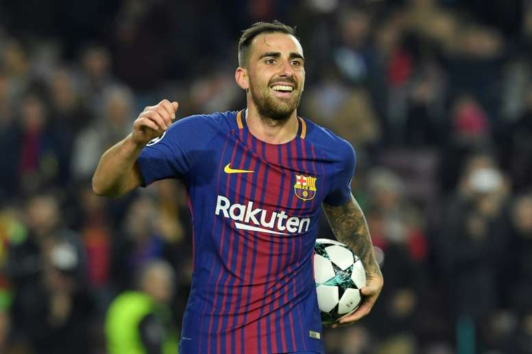 Alcacer opened the scoring as Barcelona beat Olympiacos 2-0 at the Camp Nou. AFP