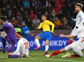 Jesus scored twice in the closing minutes for Brazil. AFP