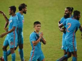 Chhetri, el gran goleador de la India. AFP