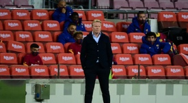 Réaction de Koeman après le nul contre Séville. AFP
