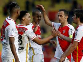 Monacos midfielder Helder Costa (2nd L) celebrates with teammates after scoring a goal during the French L1 football match Monaco vs Toulouse on January 24, 2016 at the Louis II Stadium in Monaco