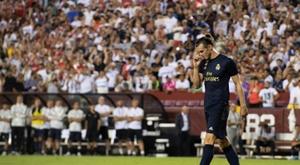 A comemoração de Gareth Bale. AFP