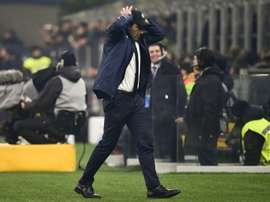 Inter coach Conte is disapointed at having to play behind closed doors. AFP