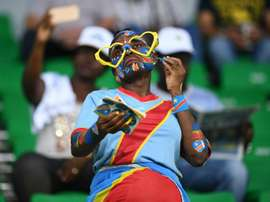 A face-painted DR Congo football fan. AFP