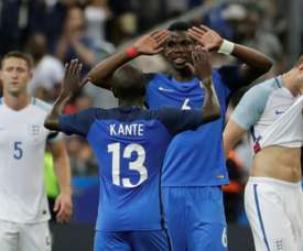 N'Golo Kanté and Paul Pogba playing for France. AFP