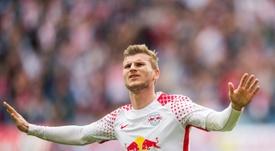 Foi Timo Werner que 'deu' os três pontos ao Leipzig. AFP