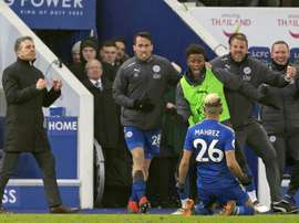 Mahrez ran to the touchline to celebrate his equaliser. AFP