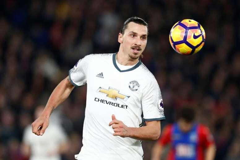Manchester Uniteds Zlatan Ibrahimovic controls the ball during their game against Crystal Palace in south London on December 14, 2016