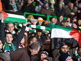 Some Celtic fans waved Palestine flags during a match against Israeli opponents. AFP