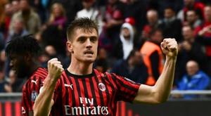 Piatek scored a crucial goal for AC Milan on Sunday. AFP