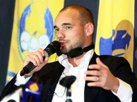 Sneijder was officially unveiled by Al Gharafa in Doha on Monday. AFP