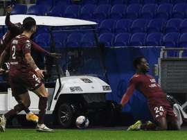 Aaron Leya Isekas decisive goal for Metz at Lyon with his third of the Ligue 1 season. AFP