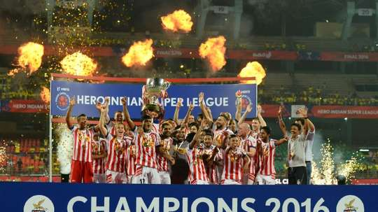 Atletico de Kolkata players celebrate winning the 2016 Indian Super League