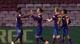 Le groupe du Barça pour affronter le Celta Vigo. afp