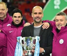 Primeiro título de Guardiola no City. AFP