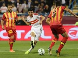 Achraf Bencharki (C) helping Zamalek of Egypt defeat Esperance of Tunisia. AFP