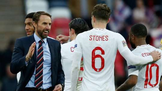 Southgate congratulates his players. AFP