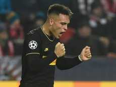 Lautaro Martinez got a double in Inter's win over Slavia. AFP