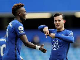 Ben Chilwell (R) got a goal and an assist as Chelsea swept aside Crystal Palace. AFP