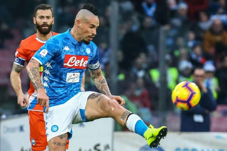Elminating Barça, a miracle for Hamsik. AFP