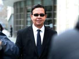 Former Honduran president Rafael Callejas leaves the Brooklyn federal court in New York. AFP