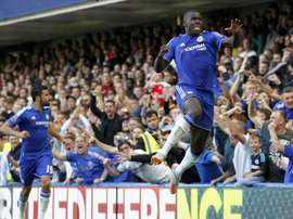 Chelseas Kurt Zouma (R) celebrates after scoring the opening goal of the Premier League match against Arsenal at Stamford Bridge on September 19, 2015