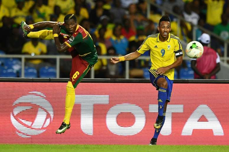 Aubameyang (R) had to sleep on a floor when Gabon travelled to Gambia. AFP
