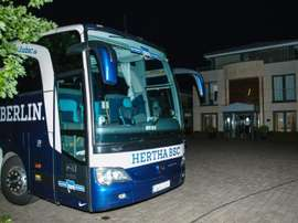 The Hertha Berlin team bus is pictured on August 9, 2015 in Bielefeld, Germany