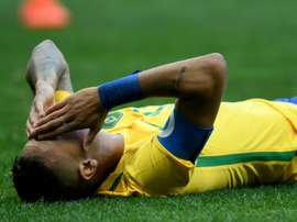 Brazil player Neymar gestures on the field during the Rio 2016 Olympic Games First Round Group A mens football match Brazil vs South Africa, at the Mane Garrincha Stadium in Brasilia on August 4, 2016