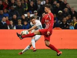 Marseille midfielder Florian Thauvin (L) opened the scoring against Nancy. AFP