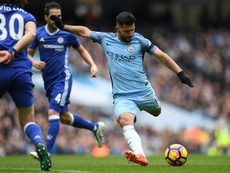 Aguero was sent off for a lunge on David Luiz. AFP