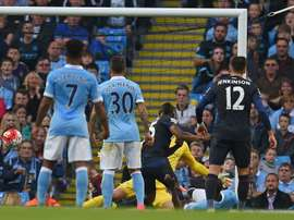 West Ham Uniteds striker Diafra Sakho (3rd L) scores past Manchester Citys goalkeeper Joe Hart (2nd R) during an English Premier League football match at The Etihad Stadium in Manchester, north west England on September 19, 2015