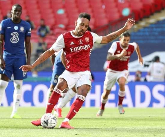 Aubameyang was key to Arsenal lifting the FA Cup. AFP