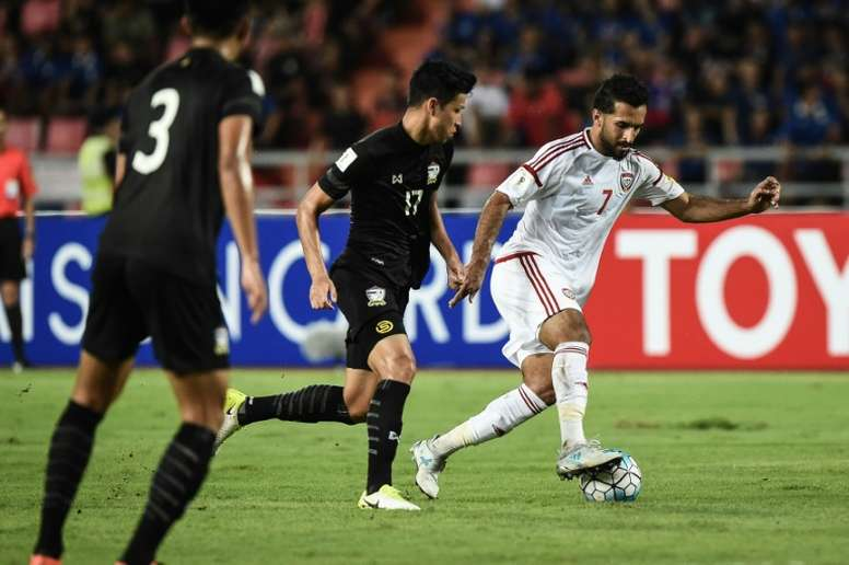 UAE forward Ali Mabkhout was on target as his coutry drew 1-1 with Thailand. AFP