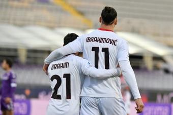 Brahim y Zlatan comparten equipo en el Milan. AFP