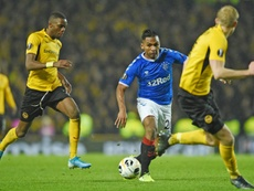 Rangers claim Alfredo Morelos (C) suffered racist abuse at Celtic Park. AFP