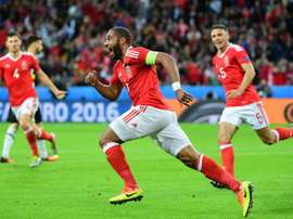 Williams celebrates after scoring a goal during the Euro 2016 quarter-final against Belgium. AFP