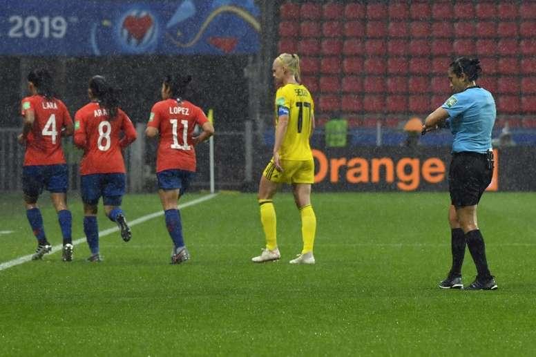Torrential rain forced a break in play in Rennes. AFP