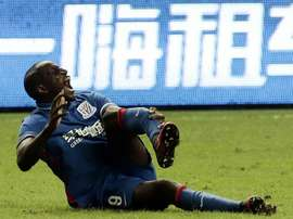 Demba Ba suffered a horror leg fracture playing for Shenhua in the Shanghai derby ast Sunday.AFP