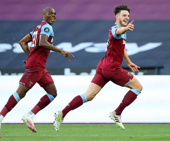 West Ham midfielder Declan Rice could be targeted by Chelsea once again. AFP