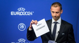 UEFA president Aleksander Ceferin unveiling Germany as hosts of Euro 2024 during a ceremony. AFP