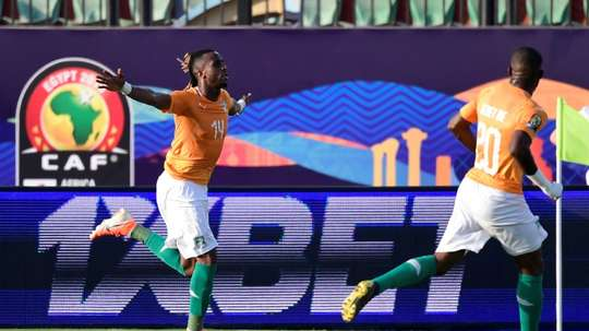 Jonathan Kodjia celebrates the winner for Ivory Coast. AFP