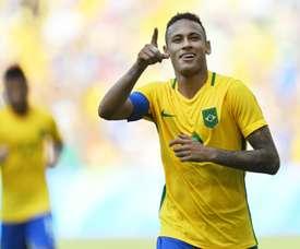 Neymar celebrates scoring in Brazil's 7-1 rout of Honduras. AFP