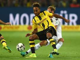 Dortmunds striker Pierre-Emerick Aubameyang and Freiburg´s striker Philipp vie for the ball during a German first division Bundesliga football match on September 23, 2016
