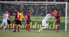 Bayern's Robert Lewandowski celebrates after scoring against SC Freiburg. AFP