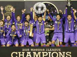 Sanfrecce Hiroshima players celebrate becoming champions of the J-League on December 5, 2015