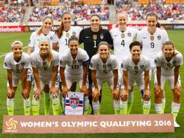 Starters of the United States pose on the field prior to a game between the United States and Canada during the Championship final of the 2016 CONCACAF Womens Olympic Qualifying on February 21, 2016 in Houston, Texas
