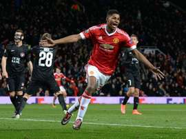 Manchester Uniteds striker Marcus Rashford celebrates scoring during a UEFA Europa League match against FC Midtjylland on February 25, 2016