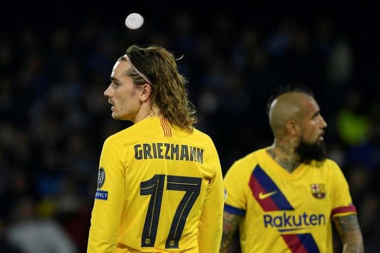Antoine Griezmann, reserva contra o Bayern de Munique. AFO