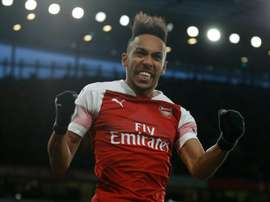 Aubameyang's brace helped his side overcome Rennes. AFP